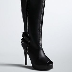 Peep Toe Zipper Tall Boots
